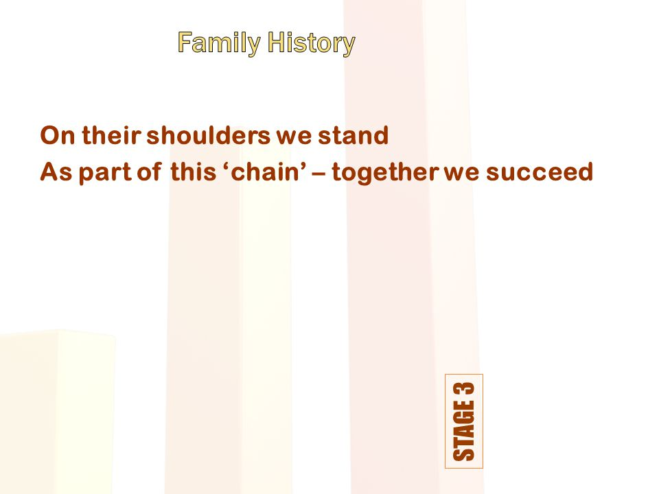 STAGE 3 On their shoulders we stand As part of this 'chain' – together we succeed