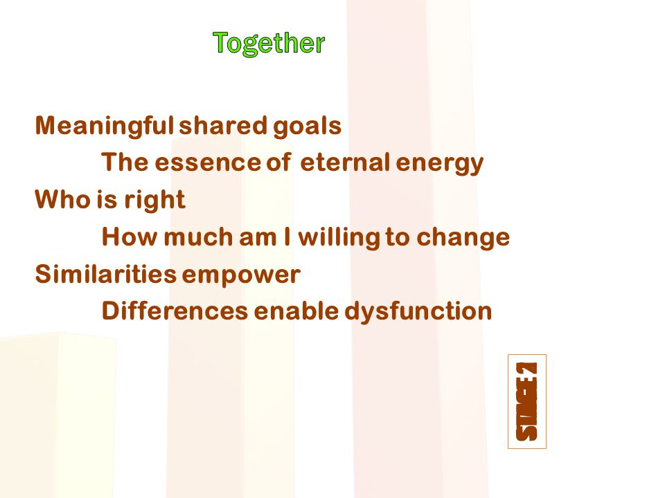 STAGE 1 STAGE 2 Meaningful shared goals The essence of eternal energy Who is right How much am I willing to change Similarities empower Differences en