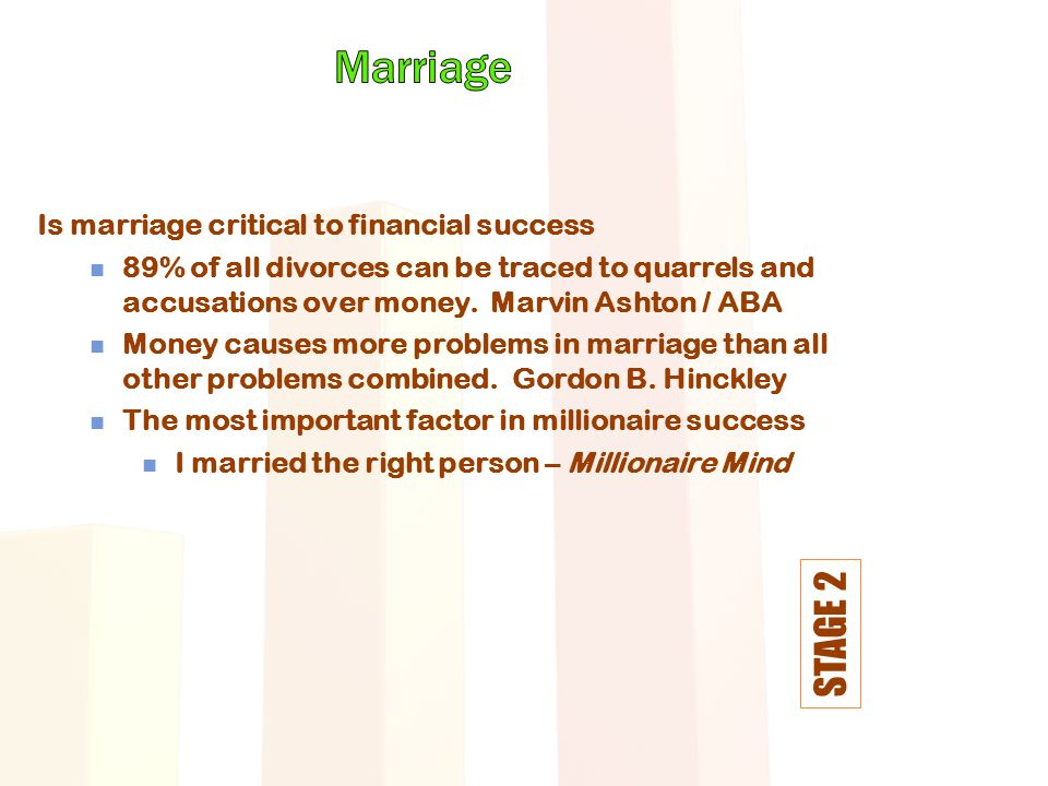 STAGE 2 Is marriage critical to financial success 89% of all divorces can be traced to quarrels and accusations over money.