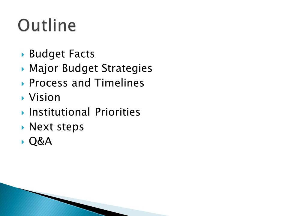  Budget Facts  Major Budget Strategies  Process and Timelines  Vision  Institutional Priorities  Next steps  Q&A