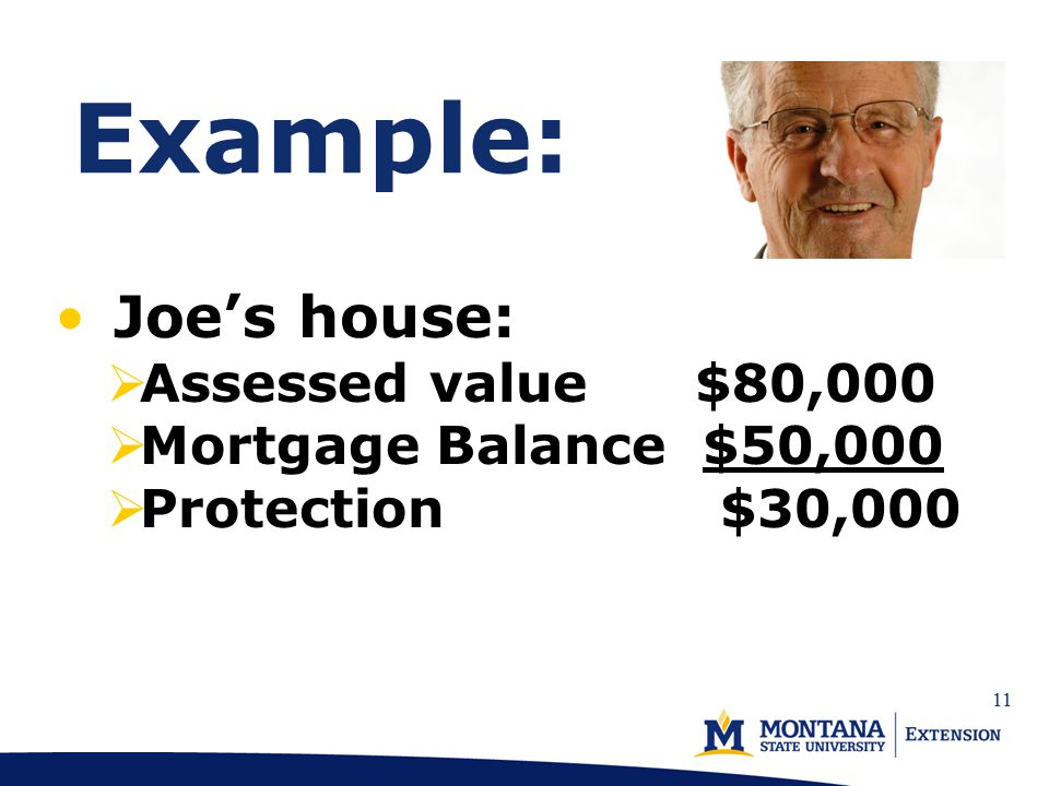 Example: Joe's house:  Assessed value $80,000  Mortgage Balance $50,000  Protection $30,000 11