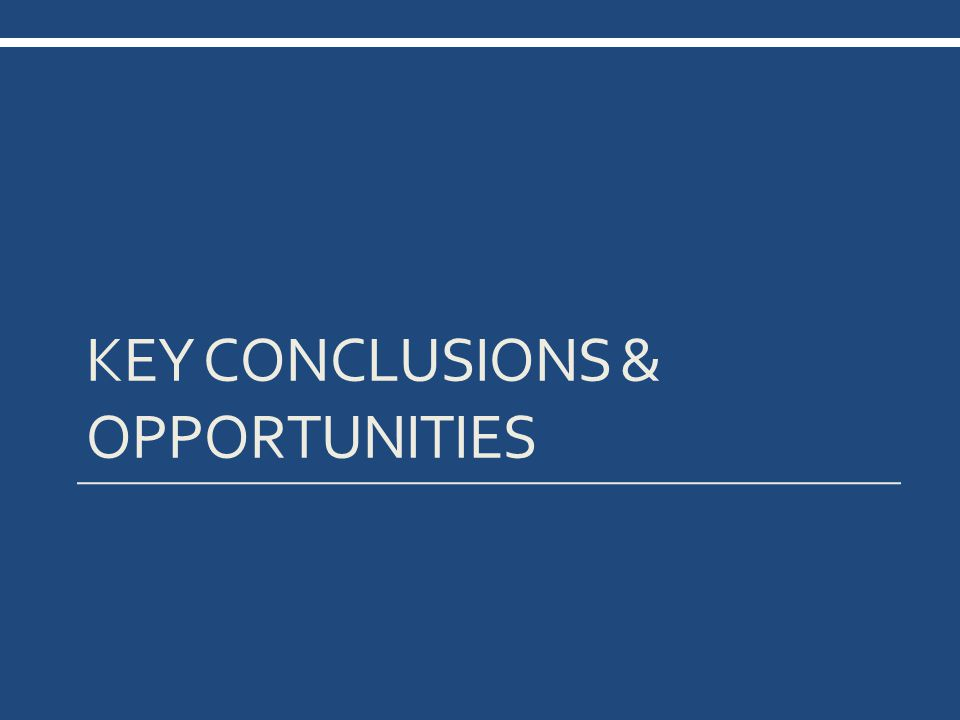 KEY CONCLUSIONS & OPPORTUNITIES