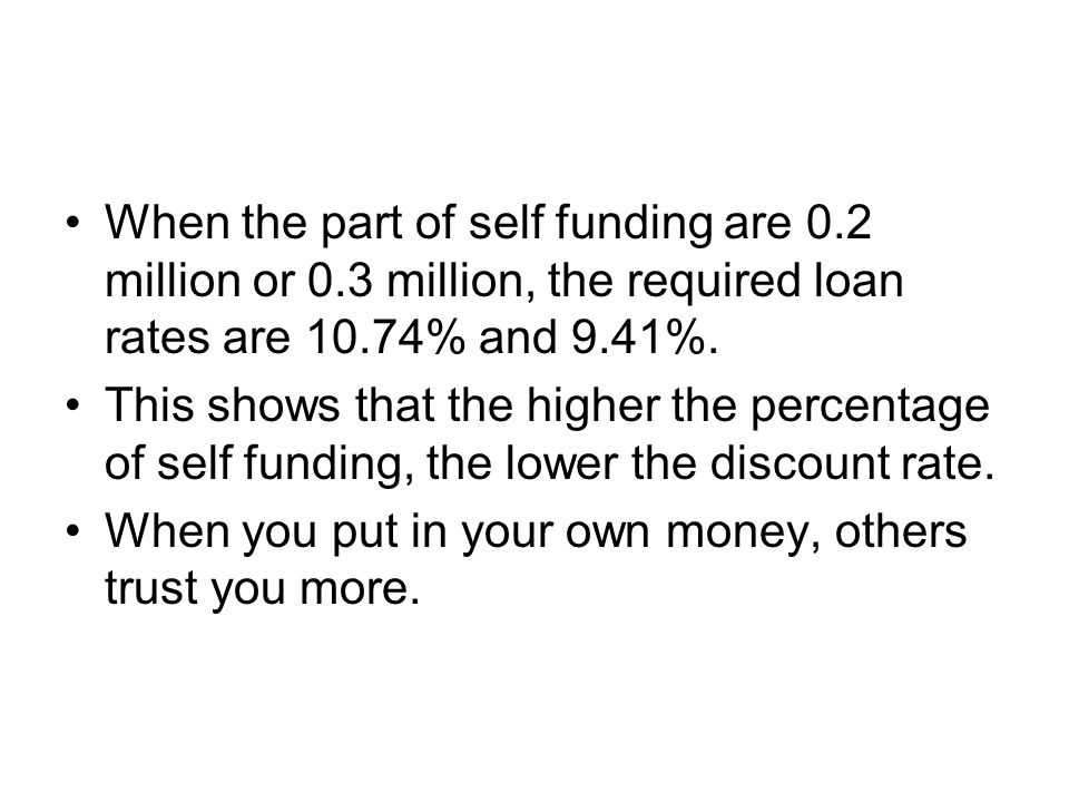 When the part of self funding are 0.2 million or 0.3 million, the required loan rates are 10.74% and 9.41%.