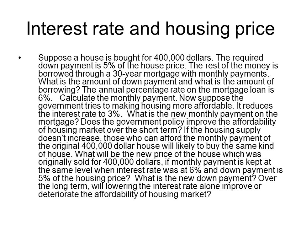 Interest rate and housing price Suppose a house is bought for 400,000 dollars.
