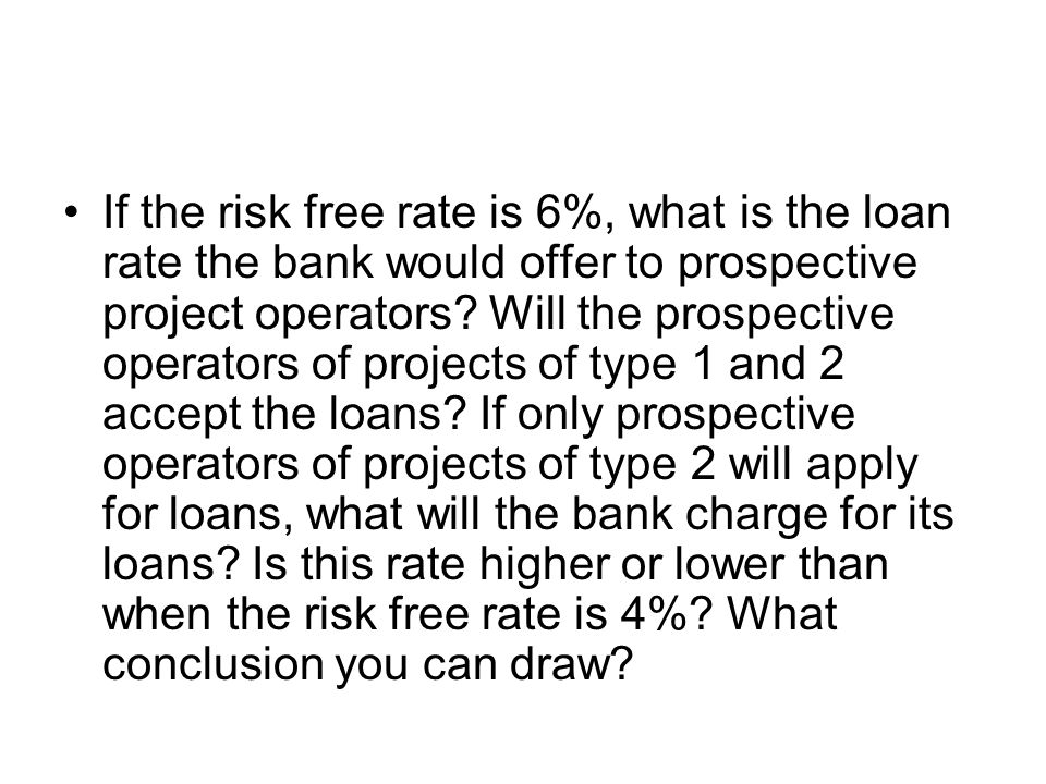 If the risk free rate is 6%, what is the loan rate the bank would offer to prospective project operators.