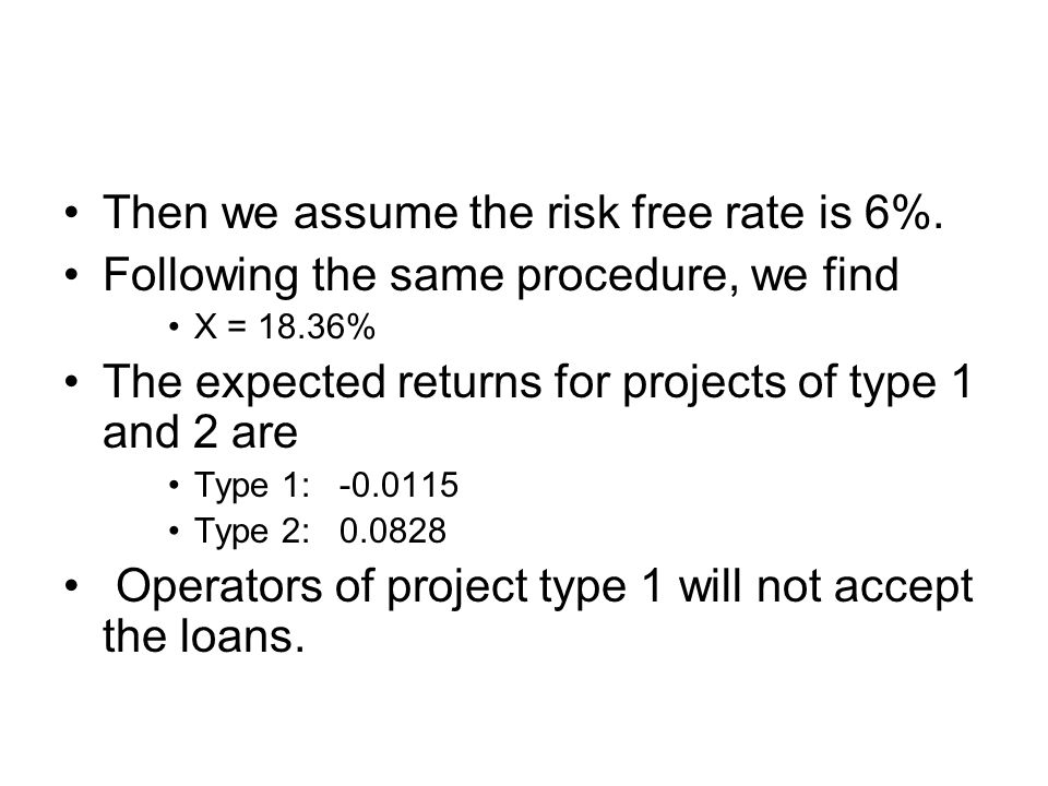 Then we assume the risk free rate is 6%.