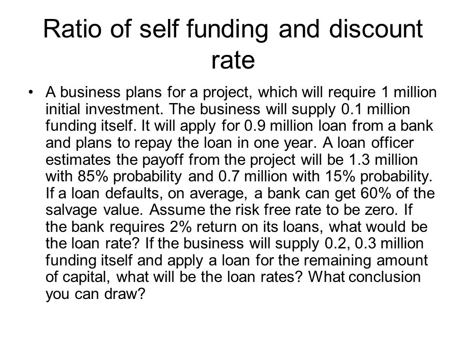 Ratio of self funding and discount rate A business plans for a project, which will require 1 million initial investment.
