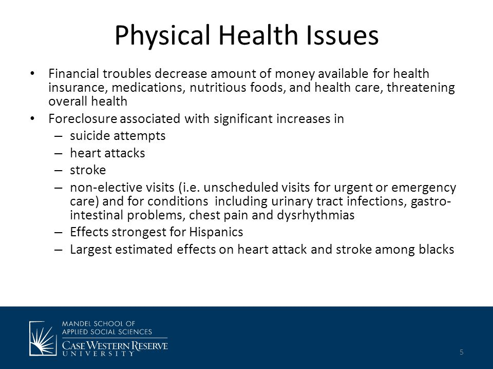Physical Health Issues Financial troubles decrease amount of money available for health insurance, medications, nutritious foods, and health care, threatening overall health Foreclosure associated with significant increases in – suicide attempts – heart attacks – stroke – non-elective visits (i.e.