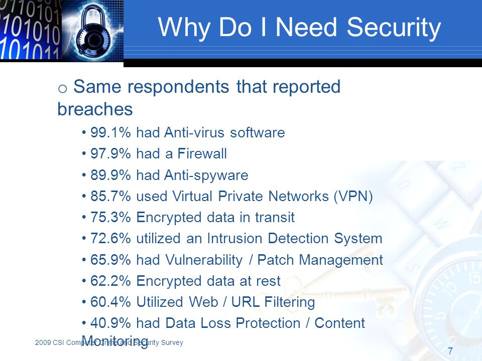 Why Do I Need Security 7 o Same respondents that reported breaches 99.1% had Anti-virus software 97.9% had a Firewall 89.9% had Anti-spyware 85.7% used Virtual Private Networks (VPN) 75.3% Encrypted data in transit 72.6% utilized an Intrusion Detection System 65.9% had Vulnerability / Patch Management 62.2% Encrypted data at rest 60.4% Utilized Web / URL Filtering 40.9% had Data Loss Protection / Content Monitoring 2009 CSI Computer Crime and Security Survey
