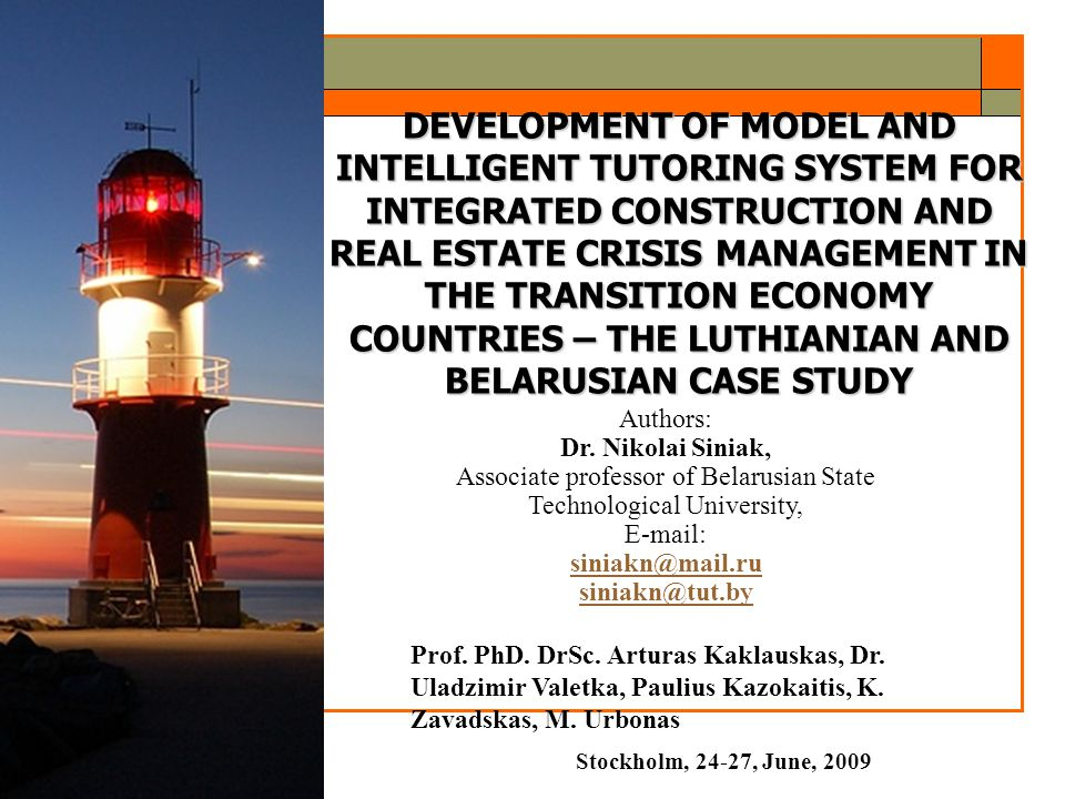 2 Situation in the Research :  Various methods and models (time-series analysis using multiple regression, Box-Jenkins analysis, seasonality analysis methods; three-index model, time-varying parameter model behavioral macroeconomic portfolio model of international capital flows, post-Keynesian models, calibrated macro models) for crisis analysis, forecasting, simulation and management in the construction and real estate sector and in separate segments thereof are applied worldwide.