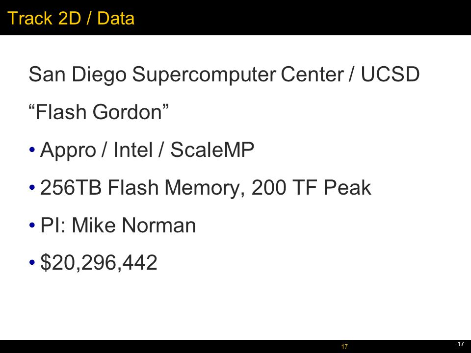 October 5, 2005 17 Track 2D / Data San Diego Supercomputer Center / UCSD Flash Gordon Appro / Intel / ScaleMP 256TB Flash Memory, 200 TF Peak PI: Mike Norman $20,296,442