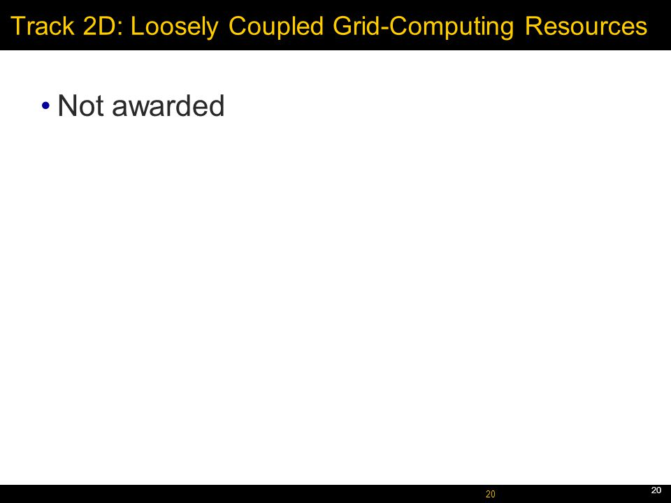 October 5, 2005 20 Track 2D: Loosely Coupled Grid-Computing Resources Not awarded 20