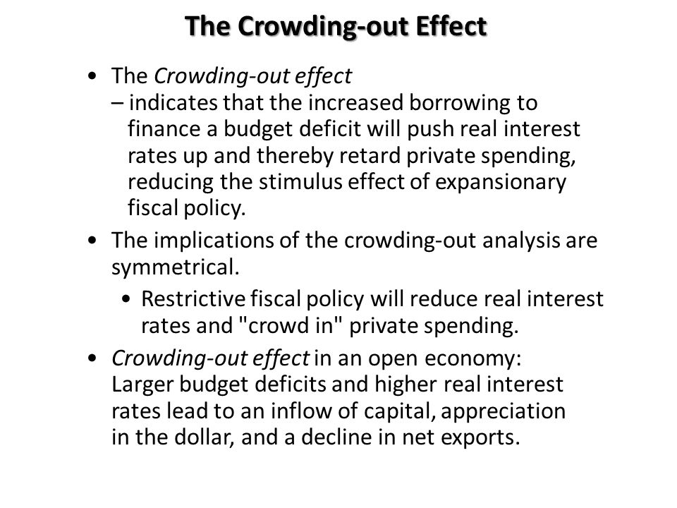 The Crowding-out Effect The Crowding-out effect – indicates that the increased borrowing to finance a budget deficit will push real interest rates up