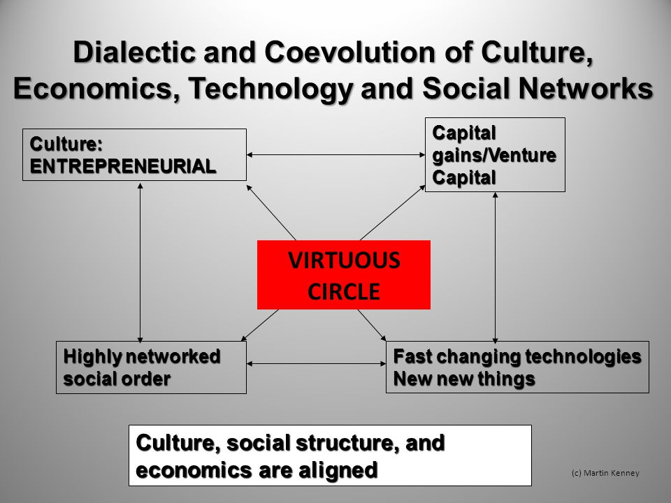 Dialectic and Coevolution of Culture, Economics, Technology and Social Networks Fast changing technologies New new things Capital gains/Venture Capital Culture: ENTREPRENEURIAL Culture, social structure, and economics are aligned (c) Martin Kenney Highly networked social order VIRTUOUS CIRCLE