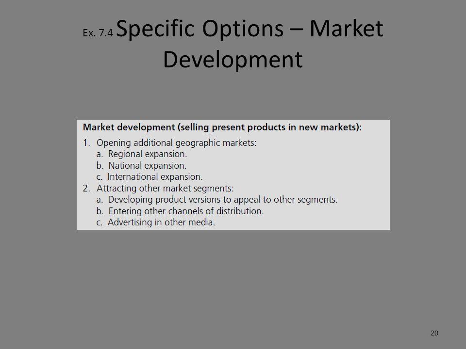 Ex. 7.4 Specific Options – Market Development 20