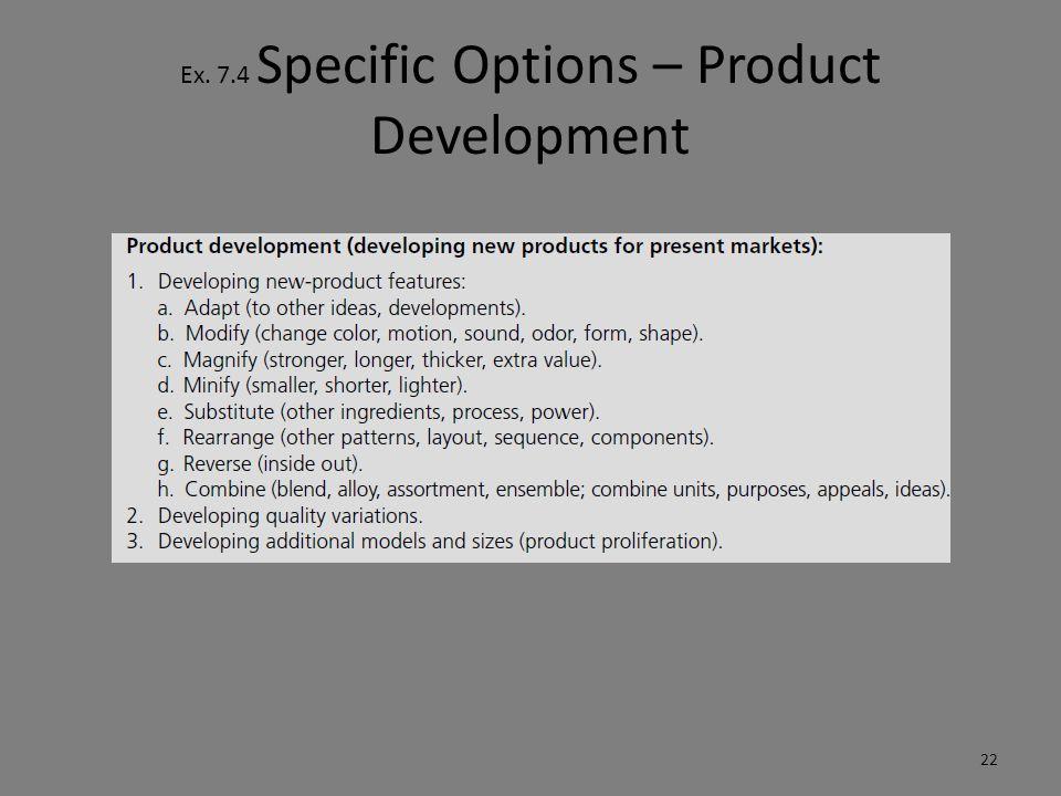 Ex. 7.4 Specific Options – Product Development 22