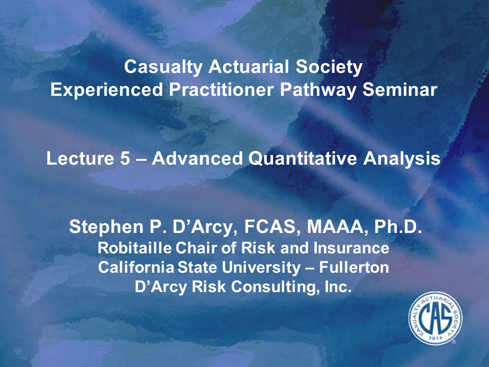 Overview 2EPP Lecture 5: Advanced Quantitative Analysis What you need to know to be part of the conversation –Stochastic processes –Interest Rate Models –Regime switching and transition matrices –Copulas –Extreme value theory –Option pricing models