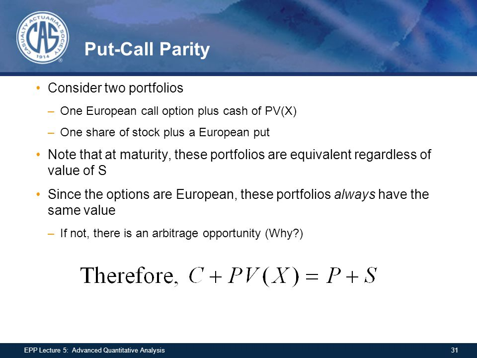 Put-Call Parity Consider two portfolios –One European call option plus cash of PV(X) –One share of stock plus a European put Note that at maturity, th