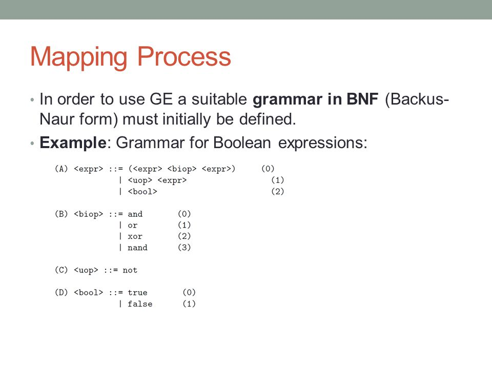Mapping Process In order to use GE a suitable grammar in BNF (Backus- Naur form) must initially be defined.
