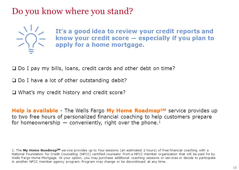 Do you know where you stand. 18  Do I pay my bills, loans, credit cards and other debt on time.