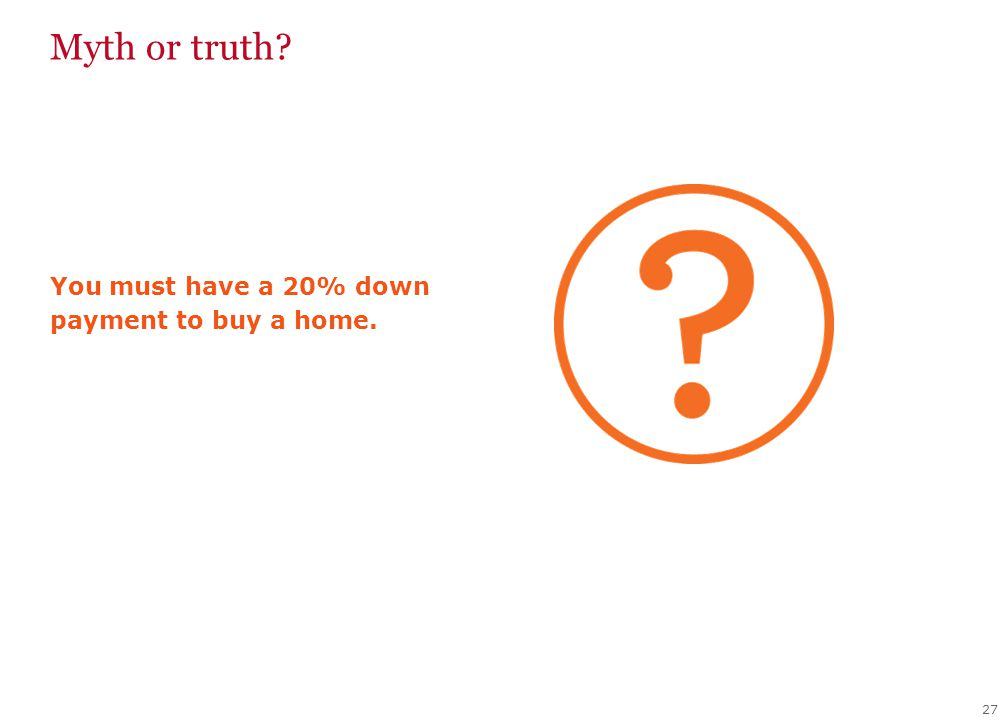 27 You must have a 20% down payment to buy a home. Myth or truth?