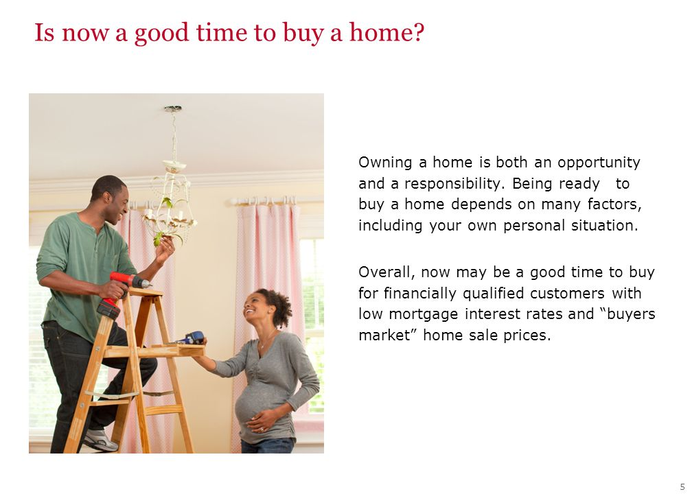 Is now a good time to buy a home. Owning a home is both an opportunity and a responsibility.
