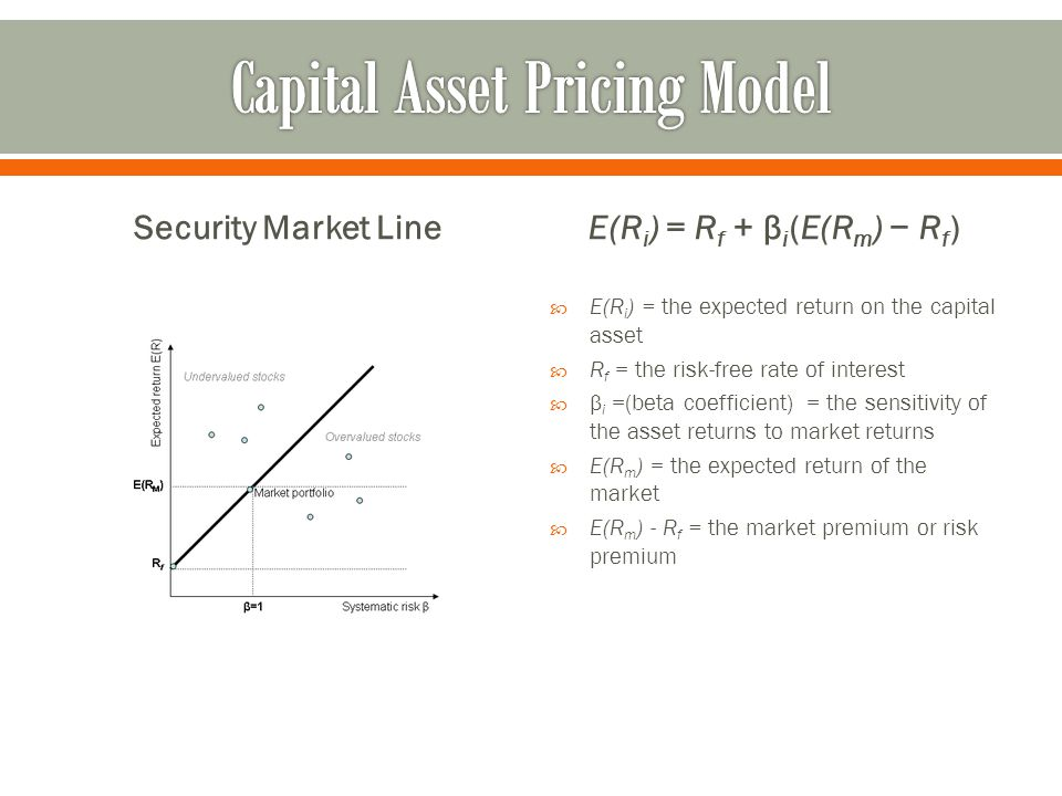Security Market LineE(R i ) = R f + β i (E(R m ) − R f )  E(R i ) = the expected return on the capital asset  R f = the risk-free rate of interest  β i =(beta coefficient) = the sensitivity of the asset returns to market returns  E(R m ) = the expected return of the market  E(R m ) - R f = the market premium or risk premium