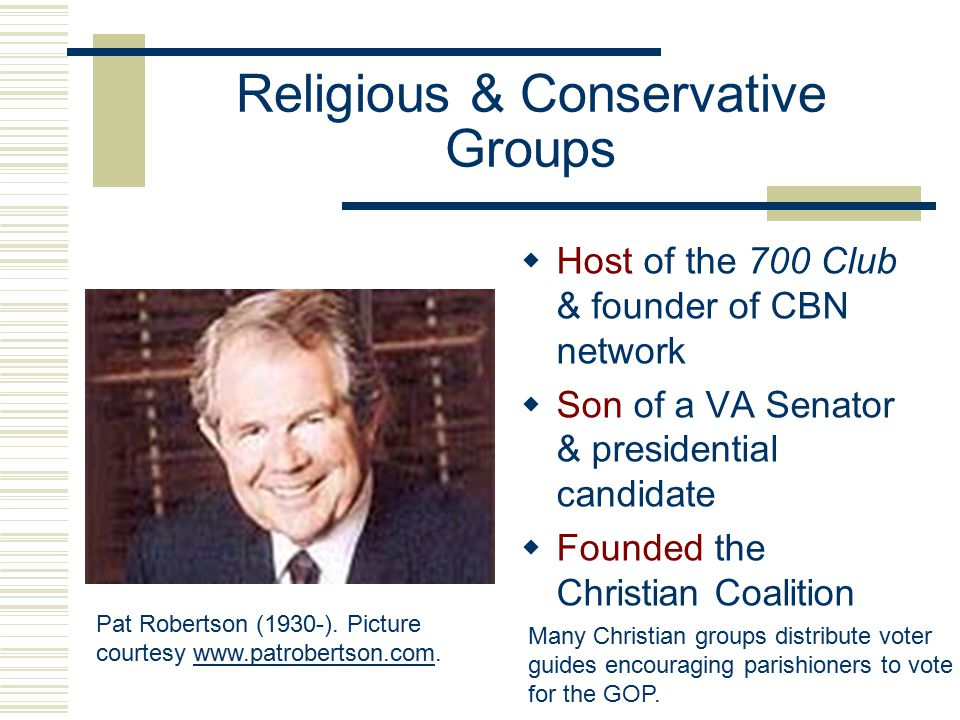 Religious and Conservative Groups  Formed in reaction to the success of civil rights & feminist groups  One of the first was Jerry Falwell's 'Moral Majority' (1978)  Credited with helping Reagan's 1980 presidential victory Jerry Falwell (1933-).