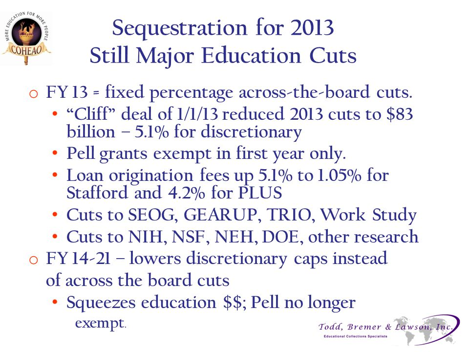 Sequestration for 2013 Still Major Education Cuts o FY 13 = fixed percentage across-the-board cuts.