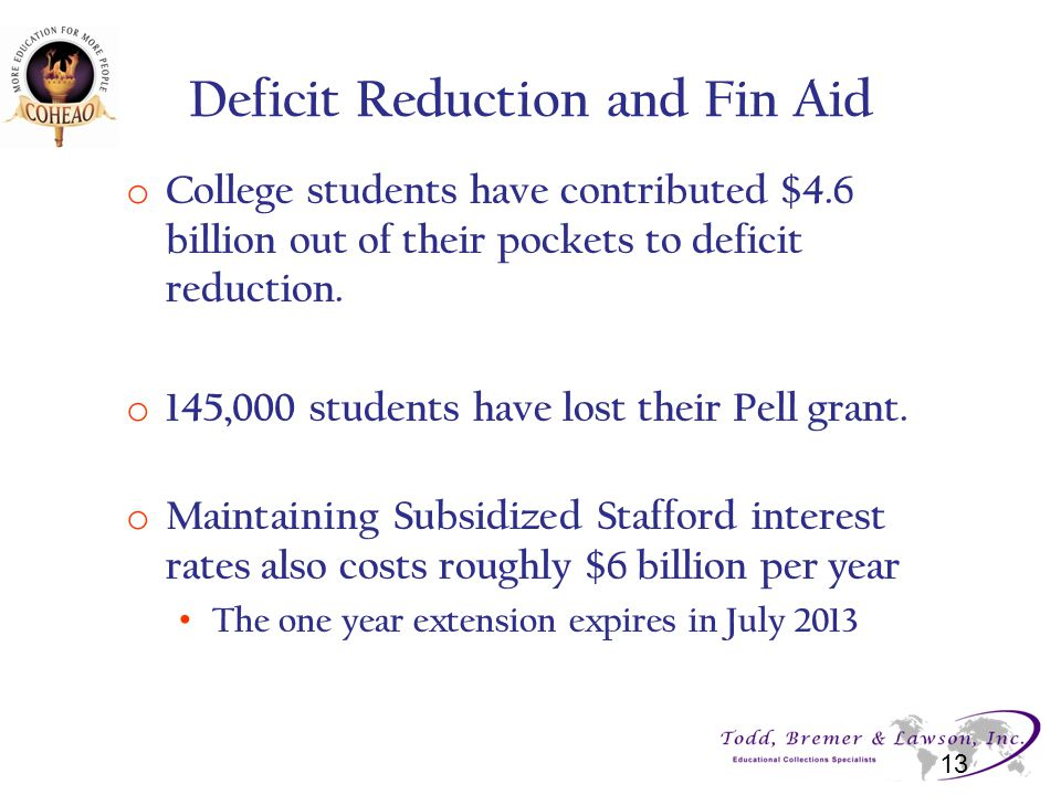 Deficit Reduction and Fin Aid o College students have contributed $4.6 billion out of their pockets to deficit reduction.