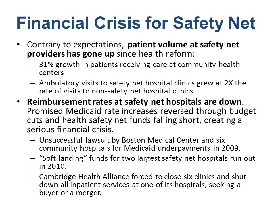 Financial Crisis for Safety Net Contrary to expectations, patient volume at safety net providers has gone up since health reform: – 31% growth in patients receiving care at community health centers – Ambulatory visits to safety net hospital clinics grew at 2X the rate of visits to non-safety net hospital clinics Reimbursement rates at safety net hospitals are down.