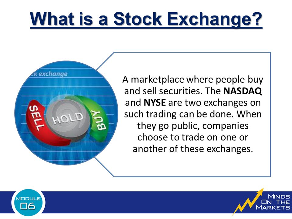 What is a Stock Exchange.A marketplace where people buy and sell securities.
