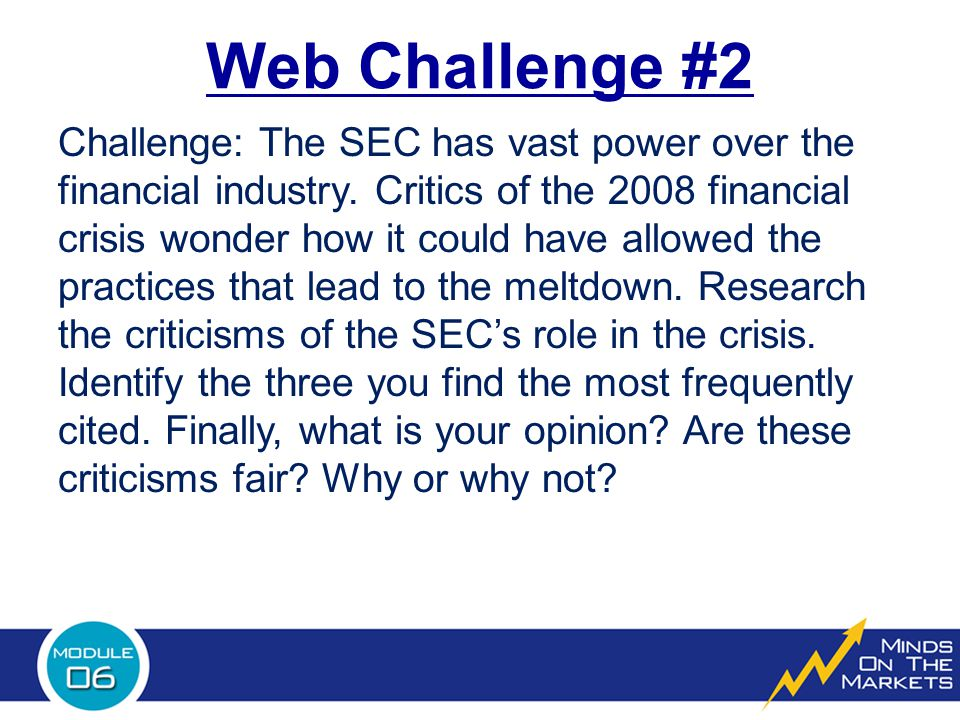 Web Challenge #2 Challenge: The SEC has vast power over the financial industry.