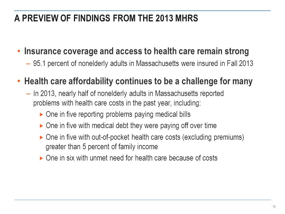 A PREVIEW OF FINDINGS FROM THE 2013 MHRS Insurance coverage and access to health care remain strong – 95.1 percent of nonelderly adults in Massachusetts were insured in Fall 2013 Health care affordability continues to be a challenge for many – In 2013, nearly half of nonelderly adults in Massachusetts reported problems with health care costs in the past year, including:  One in five reporting problems paying medical bills  One in five with medical debt they were paying off over time  One in five with out-of-pocket health care costs (excluding premiums) greater than 5 percent of family income  One in six with unmet need for health care because of costs 19