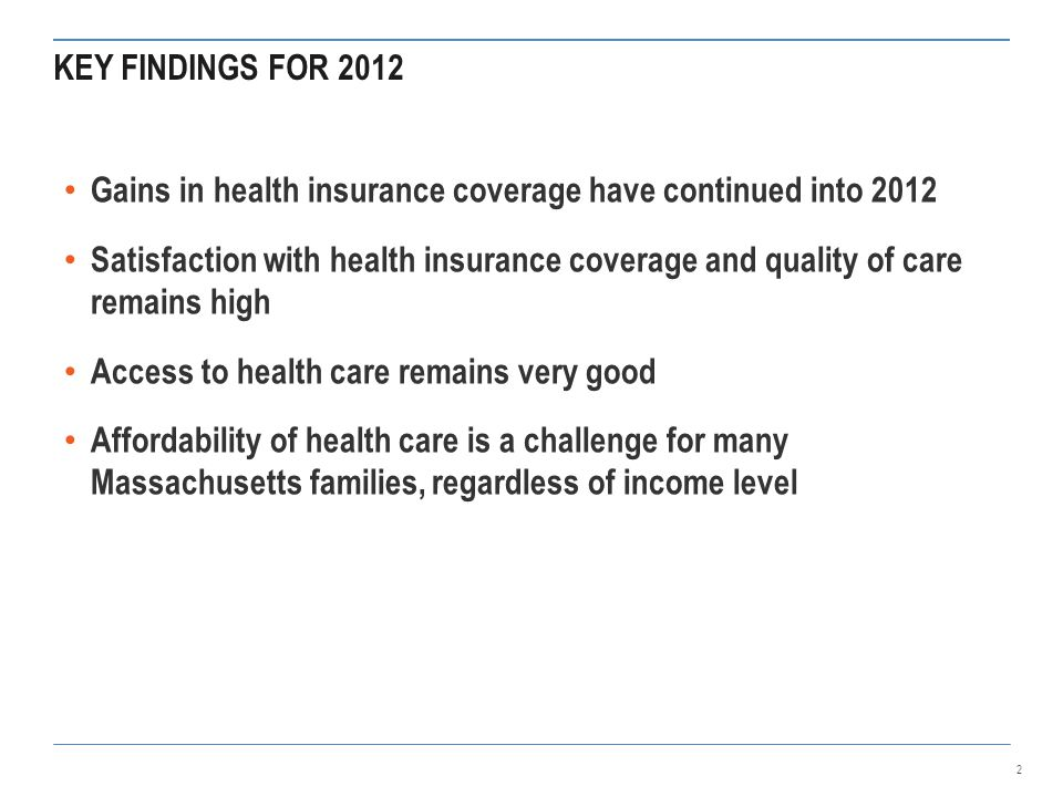 KEY FINDINGS FOR 2012 Gains in health insurance coverage have continued into 2012 Satisfaction with health insurance coverage and quality of care remains high Access to health care remains very good Affordability of health care is a challenge for many Massachusetts families, regardless of income level 2