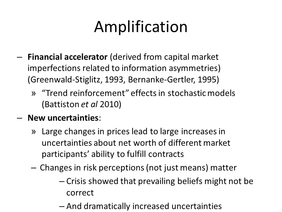 Amplification – Financial accelerator (derived from capital market imperfections related to information asymmetries) (Greenwald-Stiglitz, 1993, Bernan