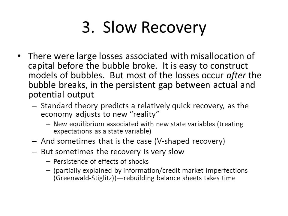 3. Slow Recovery There were large losses associated with misallocation of capital before the bubble broke. It is easy to construct models of bubbles.
