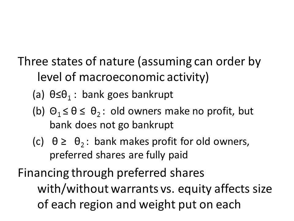 Three states of nature (assuming can order by level of macroeconomic activity) (a)θ≤θ 1 : bank goes bankrupt (b)Θ 1 ≤ θ ≤ θ 2 : old owners make no pro
