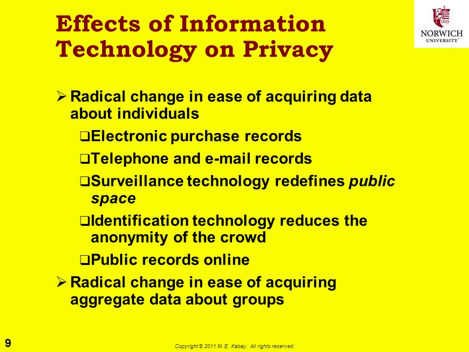 9 Copyright © 2011 M. E. Kabay. All rights reserved. Effects of Information Technology on Privacy  Radical change in ease of acquiring data about ind