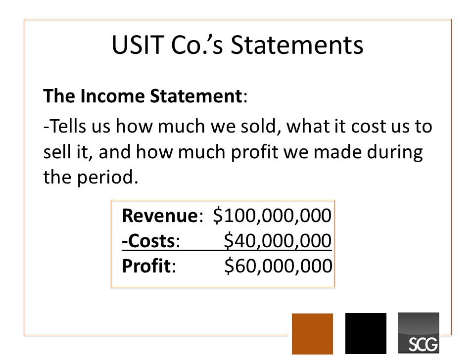 USIT Co.'s Statements The Income Statement: -Tells us how much we sold, what it cost us to sell it, and how much profit we made during the period. Rev