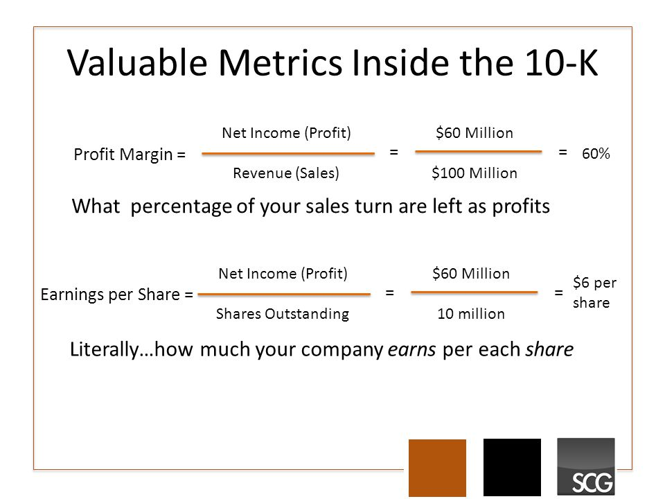 Valuable Metrics Inside the 10-K Literally…how much your company earns per each share Profit Margin = Net Income (Profit) Revenue (Sales) = $60 Million $100 Million = 60% Earnings per Share = Net Income (Profit) Shares Outstanding = $60 Million 10 million = $6 per share What percentage of your sales turn are left as profits