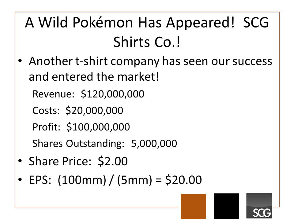 A Wild Pokémon Has Appeared! SCG Shirts Co.! Another t-shirt company has seen our success and entered the market! Revenue: $120,000,000 Costs: $20,000