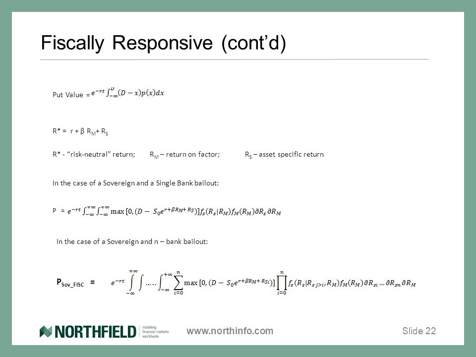 "www.northinfo.com Fiscally Responsive (cont'd) Slide 22 P Sov_FISC = Put Value = R* = r + β R M + R S R* - ""risk-neutral"" return; R M – return on fact"
