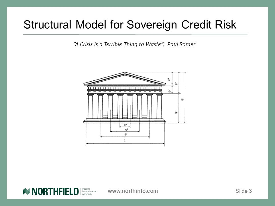 www.northinfo.com Structural Model for Sovereign Credit Risk Slide 3 A Crisis is a Terrible Thing to Waste , Paul Romer