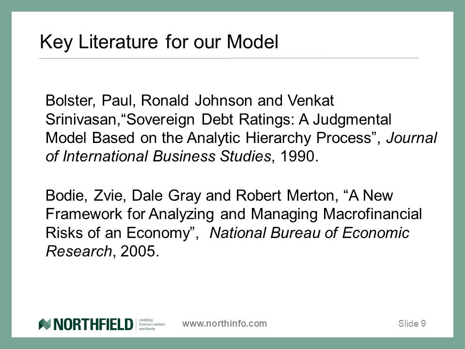www.northinfo.com Key Literature for our Model Bolster, Paul, Ronald Johnson and Venkat Srinivasan, Sovereign Debt Ratings: A Judgmental Model Based on the Analytic Hierarchy Process , Journal of International Business Studies, 1990.