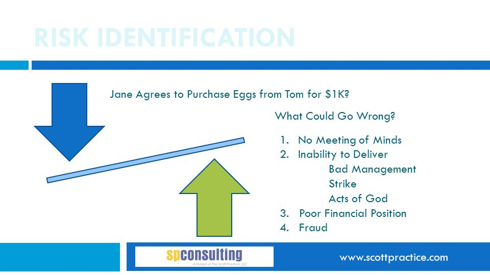 www.scottpractice.com RISK IDENTIFICATION Jane Agrees to Purchase Eggs from Tom for $1K? What Could Go Wrong? 1.No Meeting of Minds 2.Inability to Del