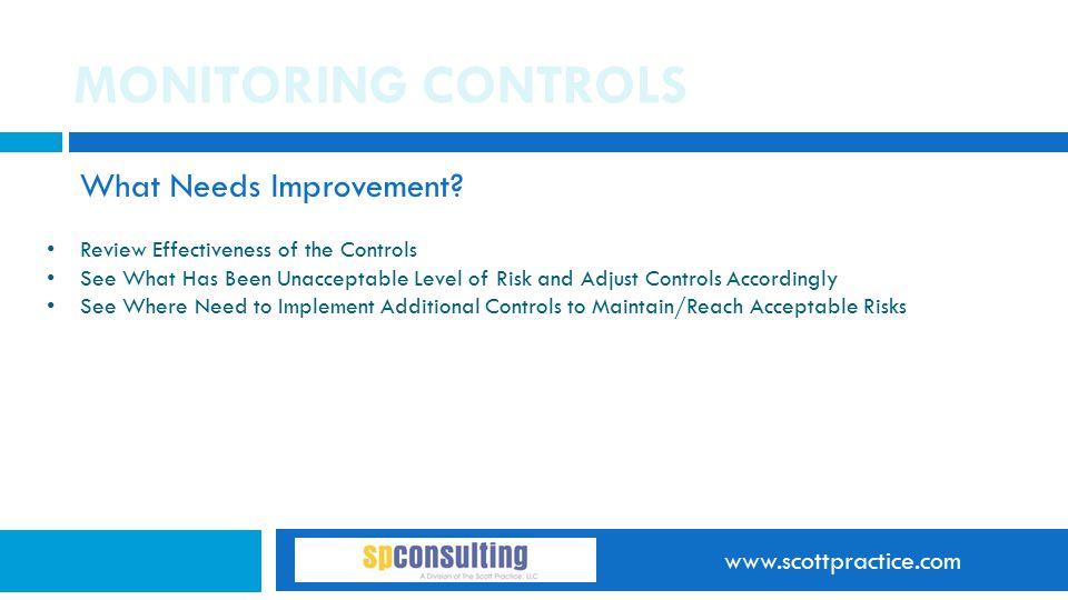 www.scottpractice.com MONITORING CONTROLS What Needs Improvement.