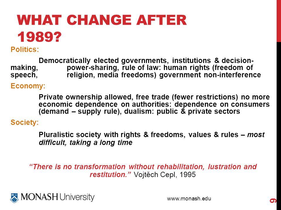 www.monash.edu WHAT CHANGE AFTER 1989.