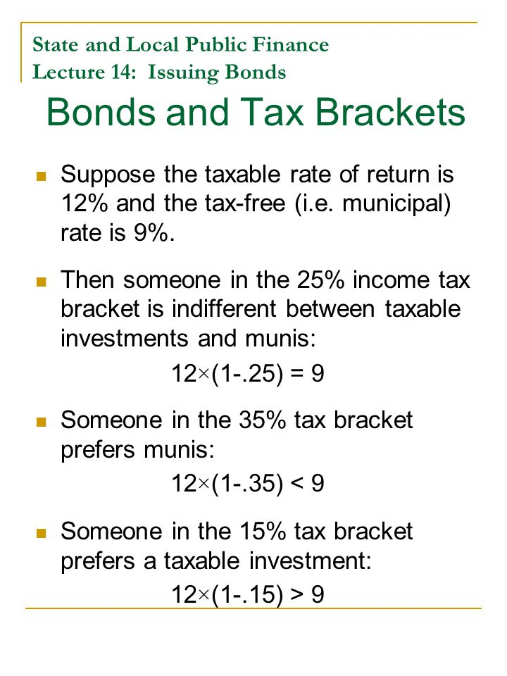 State and Local Public Finance Lecture 14: Issuing Bonds Break-Even Tax Bracket Year Yield on High- Grade Munis Yield on AAA Corporate Bonds Break-even Marginal Tax Rate 19907.25%9.32%22% 19916.89%8.77%21% 19926.41%8.14%21% 19935.63%7.22%22% 19946.19%7.96%22% 19955.95%7.59%22% 19965.75%7.37%22% 19975.55%7.26%24% 19985.12%6.53%22% 19995.43%7.04%23% 20005.77%7.62%24% 20015.19%7.08%27% 20025.05%6.49%22% 20034.73%5.67%14% 20044.63%5.63%18% 20054.29%5.24%18% 20064.42%5.59%21% 20074.42%5.56%21% 20084.80%5.63%15% 20094.64%5.31%13% 20104.16%4.94%16% 20114.29%4.64%8% 20123.14%3.67%14%