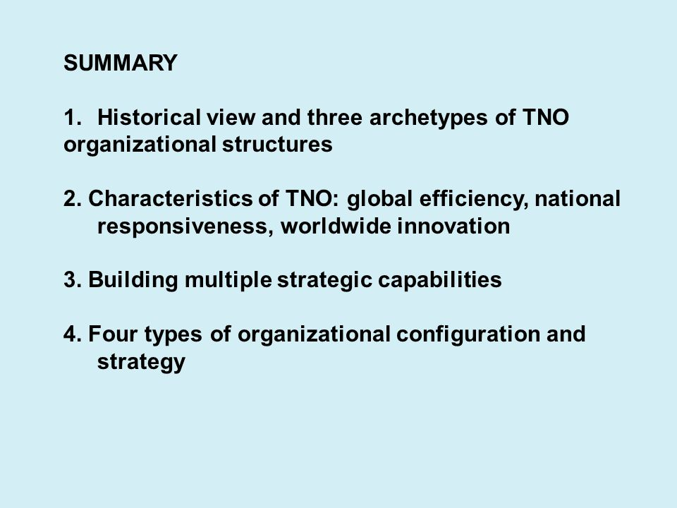 SUMMARY 1.Historical view and three archetypes of TNO organizational structures 2. Characteristics of TNO: global efficiency, national responsiveness,